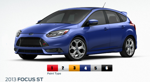 Available Exterior Color Options 2013 Ford Focus ST