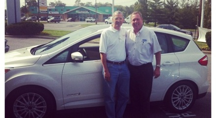 Smiley and Tom, our General Manager, with the 2013 Ford C-MAX Hybrid